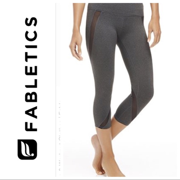 c695af1f12d688 Fabletics Pants | Corfu Ii Capri Mesh Leggings Grey Black | Poshmark
